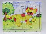 Fa puzzle 22x18 cm 12db-os ÚJ IGRA TOYS oroszlán
