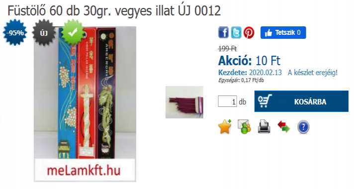 Füstölő 60 db 30gr. vegyes illat ÚJ 0012