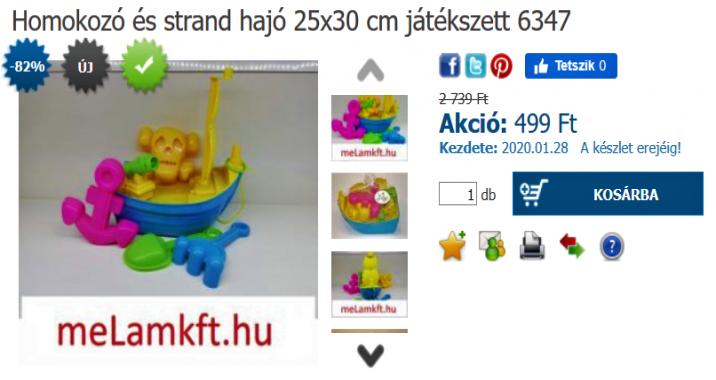 Homokozó és strand hajó 25x30 cm játékszett 6347