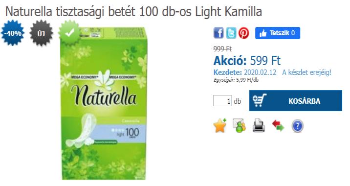 Naturella tisztasági betét 100 db-os Light Kamilla