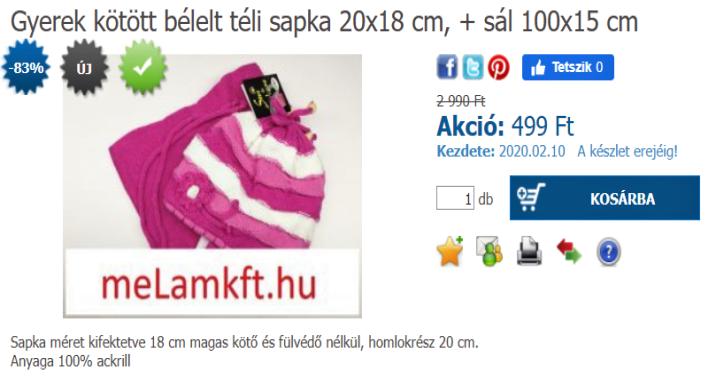 Gyerek kötött bélelt téli sapka 20x18 cm, + sál 100x15 cm